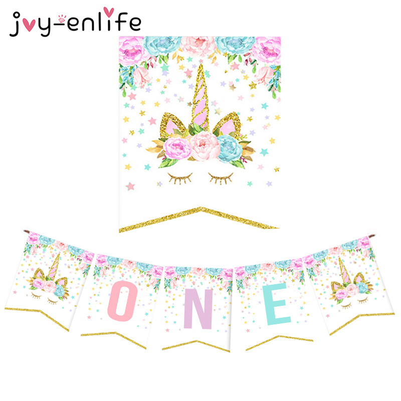 JOY-ENLIFE Unicorn Boy Girl First Birthday Party Banner One Year Old Birthday Hanging Bunting Party Decor Unicorn Party Supplies
