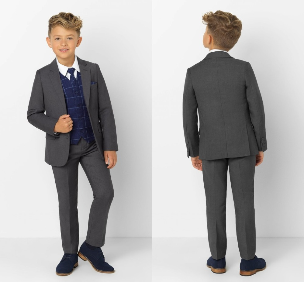 2019 New Arrival Boys' Attire Peaked Lapel Kids Suits Custom Made Clothing Set 3 Pieces Prom Suits (Jacket+Pants+Tie+Vest) 009
