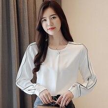Women clothing New 2019 fashion  womens shirts Long sleeve white Lace blouse shirt chiffon Spring casual O neck blusas 806B