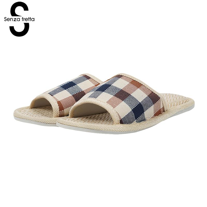 Senza Fretta Men Shoes Home Slippers Non-slip Indoor Slippers Plaid Cloth Men Sandals Home Slippers Indoor Bedroom Shoes Sandals fghgf shoes men s slippers hma