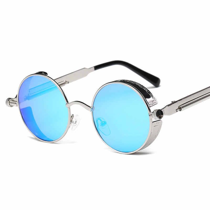 Redonda de Metal óculos de Sol Homens Steampunk Mulheres Óculos de Marca Designer de Moda Retro Quadro óculos de Sol Do Vintage de Alta Qualidade UV400