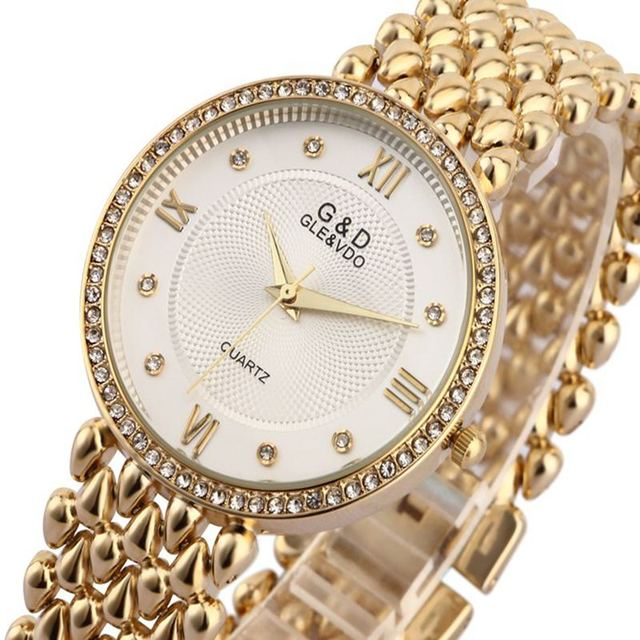 G & D Женщины Наручные Часы Кварцевые Часы Дамы Браслет Часы Платье Relógio Feminino Саат Подарки Лучший Бренд Класса Люкс Reloj Mujer серебро