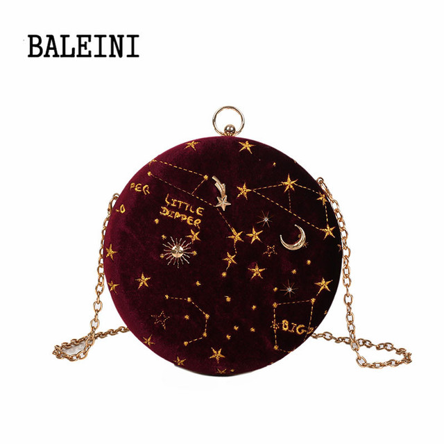 Starry sky Circular Fashion Wool Women Shoulder Bag Leather Women's Crossbody Messenger Bags Ladies Purse Female Round Handbag