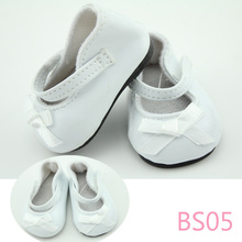 """Doll Shoes Fits 18"""" American Girl Doll Clothes Mary Jane SHOES White Color Leather Shoes With Bow Doll Accessories"""
