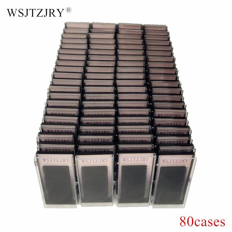 WSJTZJRY 80 cases set 16 rows High quality mink eyelash extension individual eyelashes natural eyelashes fake