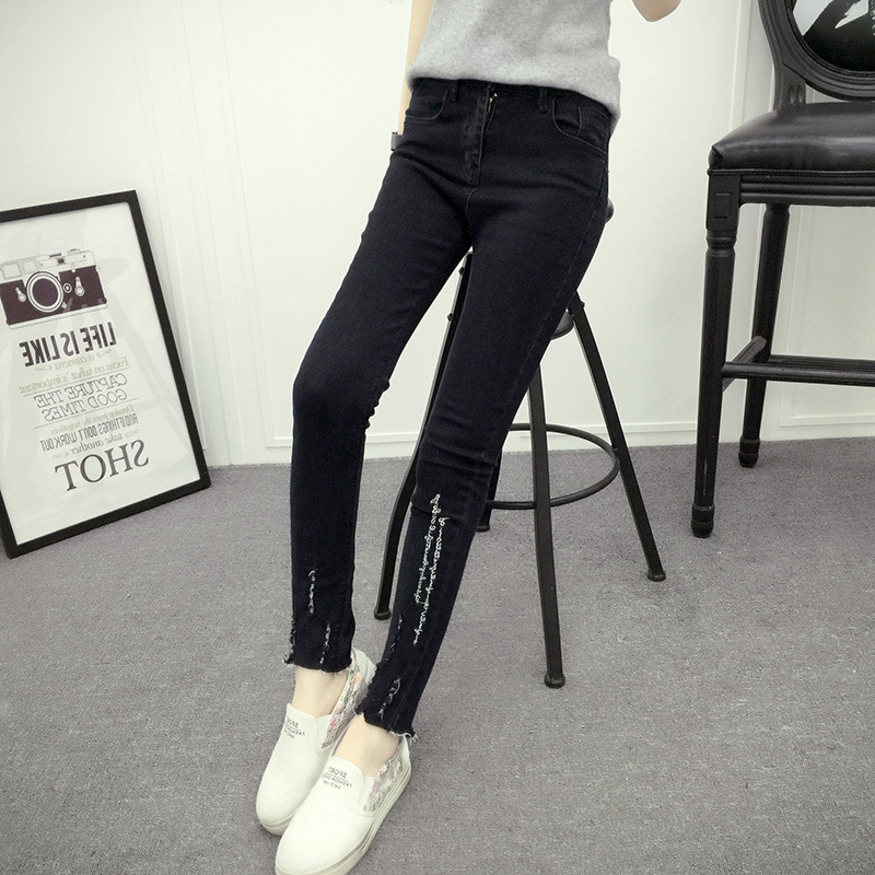 2016 new spring Han Guoxian thin all match worn jeans pants embroidered letter burr female