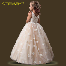 Christmas Kids Long Floral Children Clothing First Communion Dresses for Girls Ball Gown Teenager Graduation Ceremony Prom Dress