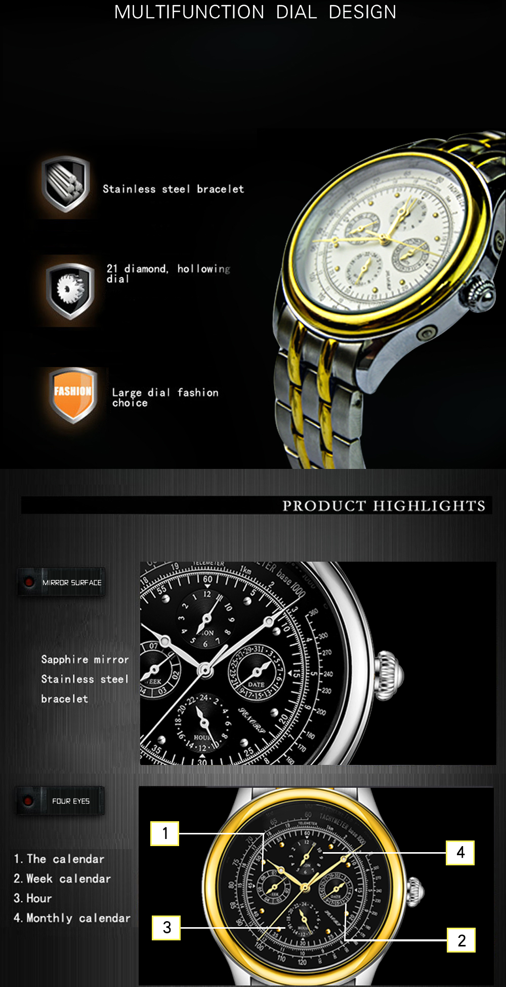Senors Automatic Mechanical Watch For Men Stainless Steel (6)
