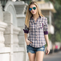 Veri Gude Plaid Shirt Women Long Sleeve Cotton Plaid Blouse 6 Colors Free Shipping