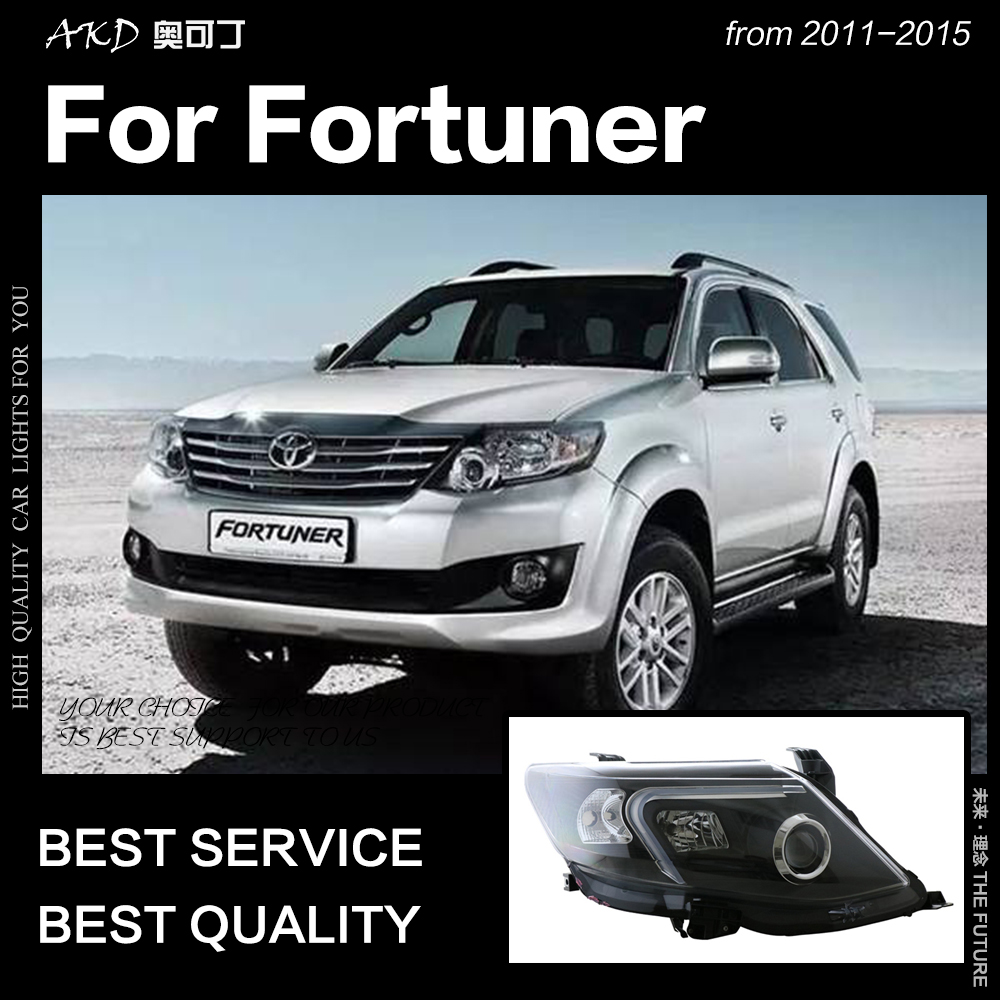 AKD Car Styling for Toyota Fortuner Headlights 2011 2015 Fortuner LED Headlight LED DRL Head Lamp Angel Eye Bi Xenon Accessories-in Car Light Assembly from Automobiles & Motorcycles    1