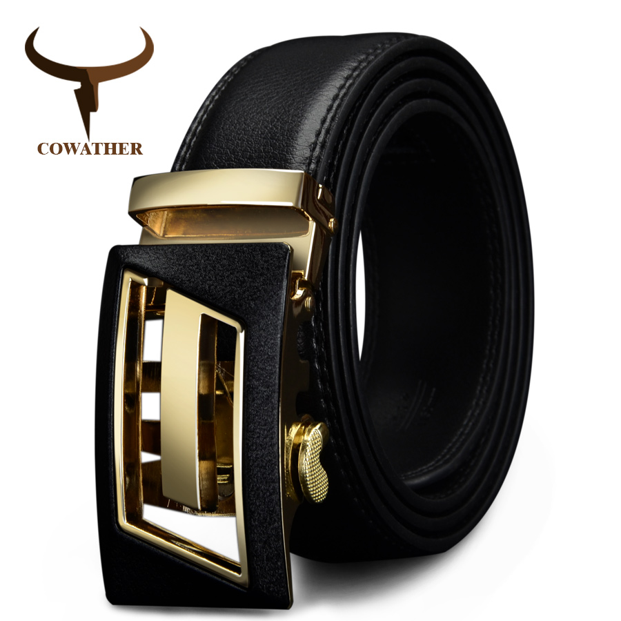 COWATHER New Designer Automatic Buckle Cowhide Leather Men Belt Fashion Luxury Belts For Men Designer Belts Men High Quality