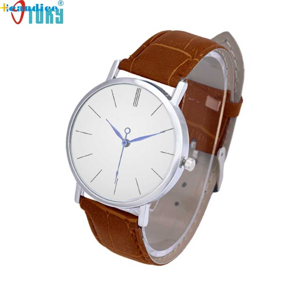Simple stainless steel leather strap 42mm large dial pure white dial fashion business casual quartz watch Dropshipping  LI