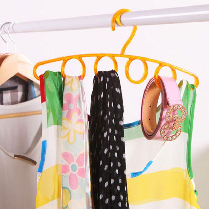 2 PCS 4 Ring Hole Round Tie European Clothes Scarves Storage Rack Cloth Rotate Save Space Closet Organizer Scarf Hanger Hangers
