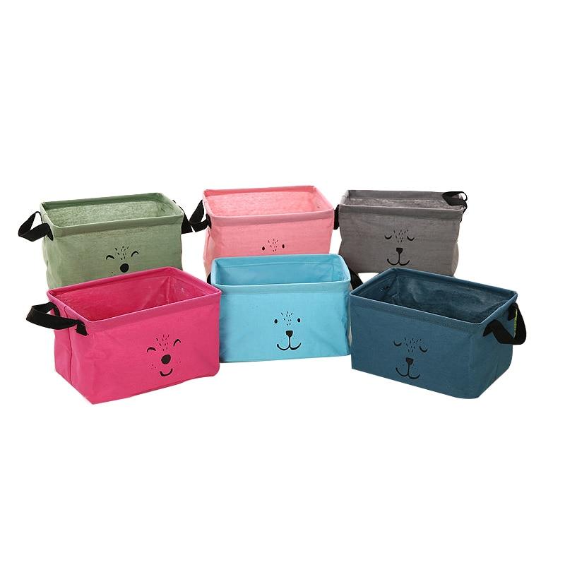 Cotton Linen Storage Baskets Handbags Laundry Basket Animal Printed Folding Storage Boxes Sundries Bags For Kids Toys Organizer