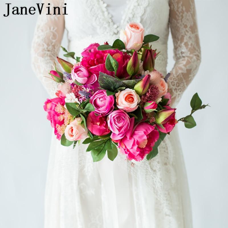 JaneVini 2019 New Western Style Wedding Red Bouquet Bridal Flowers Artificial Silk Rose Fake Bouquet Ramo Novia Bouquet De Fleur