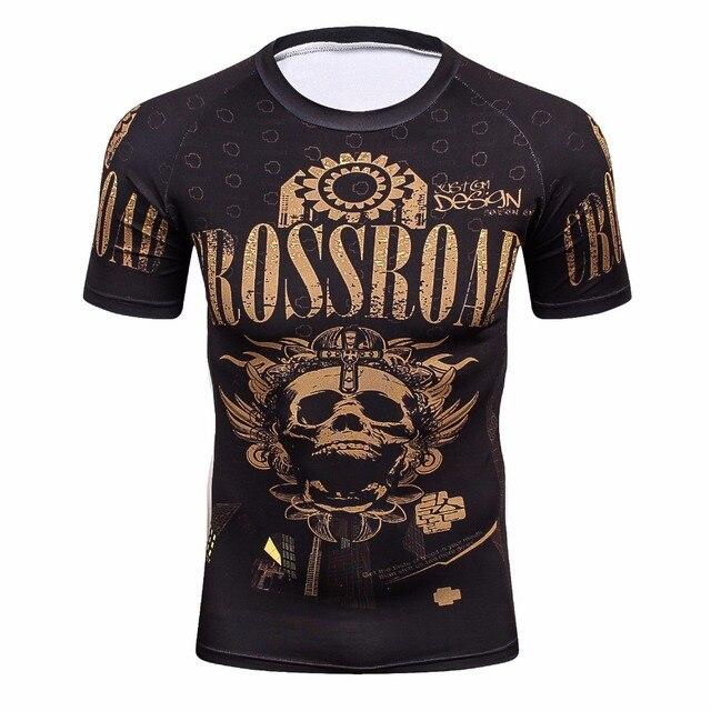 3d מלא הדפסי חולצות Mens דחיסת חולצת בסיס שכבה קצר שרוול אימון כושר MMA גוף בניין צמרות Rashguard חולצה