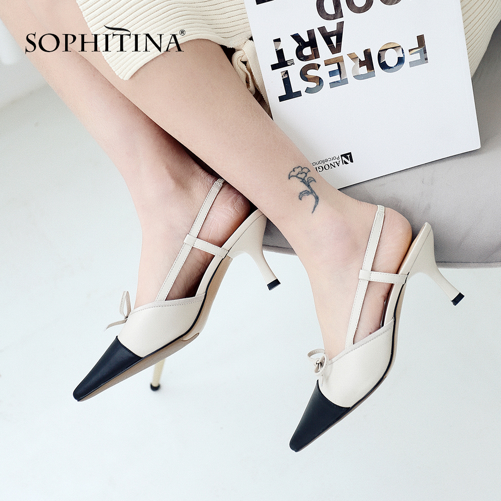 SOPHITINA Fashion Ankle Strap Sandals High Quality Genuine Leather Mixed Colors Shoes Med Thin Heels Butterfly
