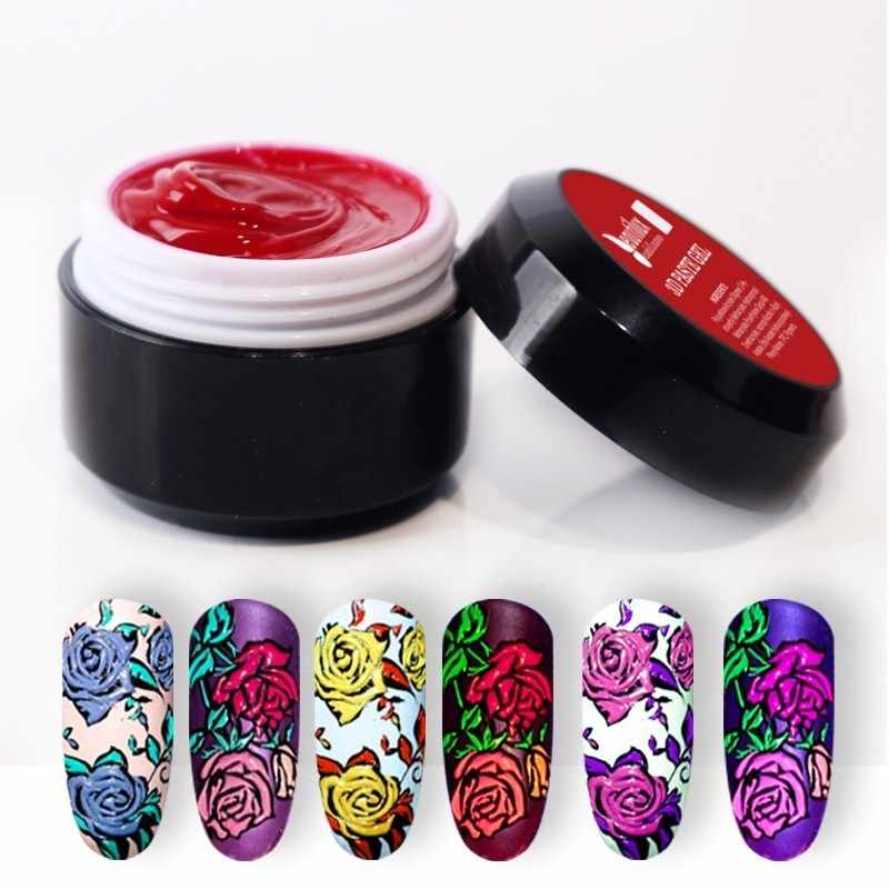 Beautilux 1pc No Sticky Layer No Spread Nail Art 3D Carving Gel Paste 6g Soak Off UV LED Nails Gel Polish For Nail Design Artist