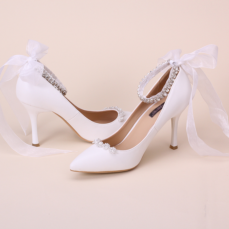 Fashion lace rhinestone wedding shoes aesthetic 7cm heel pointed toe ankle strap bridal shoes party performance shoes