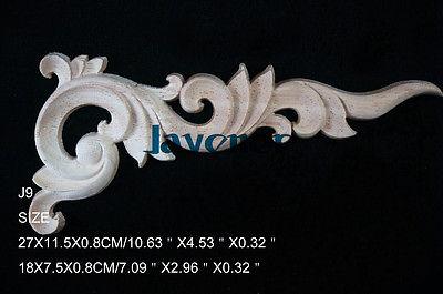 J9- 27x11.5x0.8cm Wood Carved Corner Onlay Applique Unpainted Frame Door Decal Working Carpenter Flower