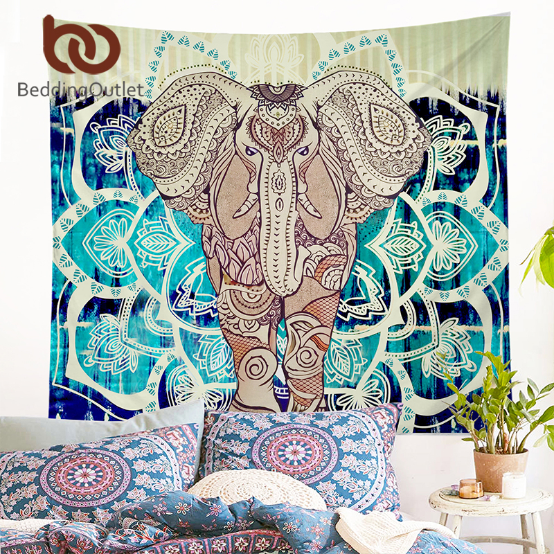 Beddingoutlet indian style tapestry elephant printed wall for Fomic sheet wall hanging