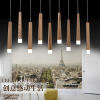 Art Minimalist Restaurant Chandelier LED Single Head Seven Nordic Wood Rectangular Chandelier Creative Personality Dining Light
