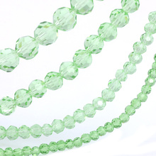 OlingArt 3/4/6/8mm Round Glass Beads Rondelle Austria 32 faceted crystal light green color Loose bead DIY Jewelry Making