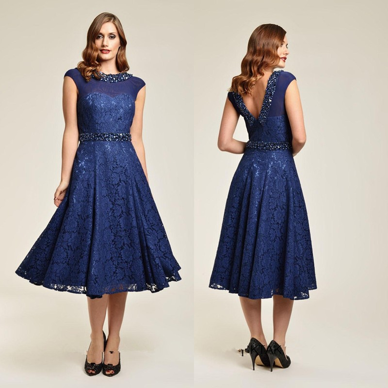 Popular Dark Blue Tea Length Dresses-Buy Cheap Dark Blue Tea ...