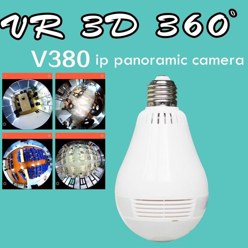 ip network VR 360 degree wifi Fisheye camera v380 software  wireless Panoramic light network light bulb audio light bulb camera vr 360 degrees wifi3d fisheye panoramic light camera network led