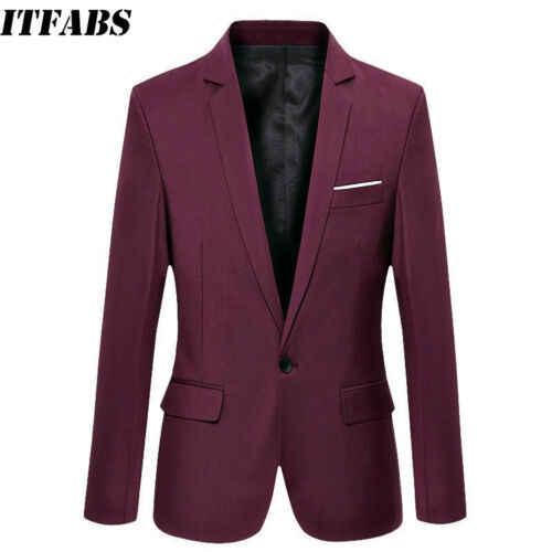 2019 ファッションスタイリッシュなメンズカジュアルスリムフィットワンボタンスーツブレザー男性 Caausl ブレザーコートジャケットトップスサイズ m-3XL