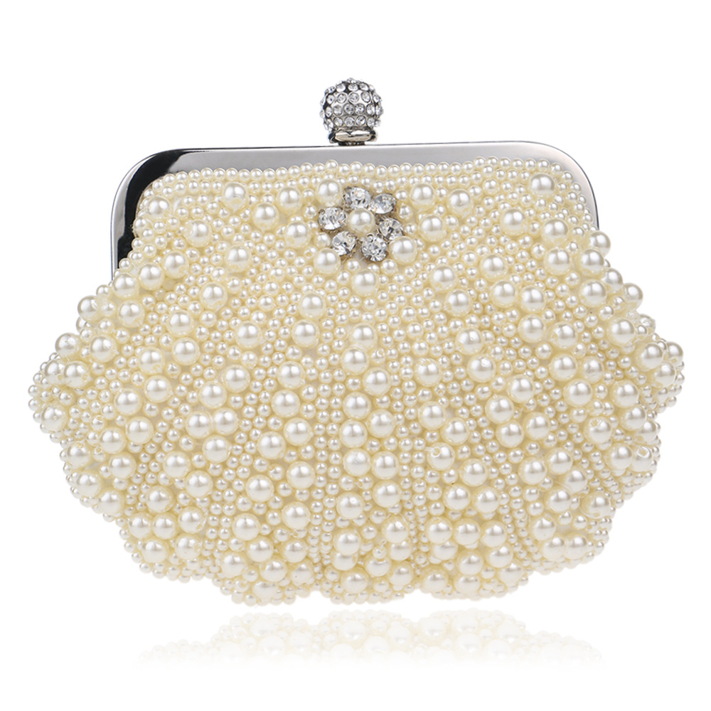 Women's Elegant Evening Clutch with Faux Pearl and Diamonds, Fashionable Beaded Day Clutch