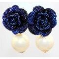 Ретро мода преувеличены синий любовь розы цветок большой жемчужиной очаровательные прицел женская свежий ну вечеринку серьги оптовая продажа 2016