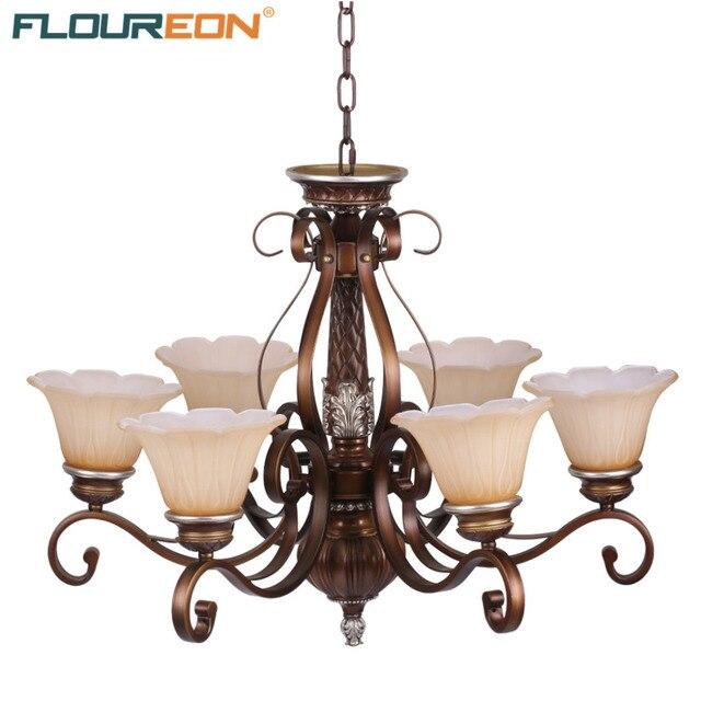 Floureon 6-Light Antique Chandelier,Retro European-Style,20W~50W E27,Oil Paint Steel Construction Glass Shade Chandeliers
