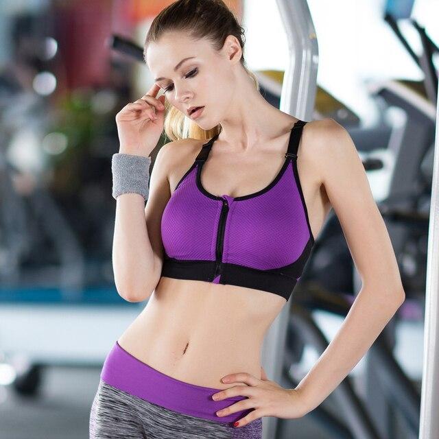 New Front Zipper Breathable Women Yoga Bra Push Up Seamless Underwear Tank Top Gym Fitness clothes Jogging yoga shirts Sport Bra