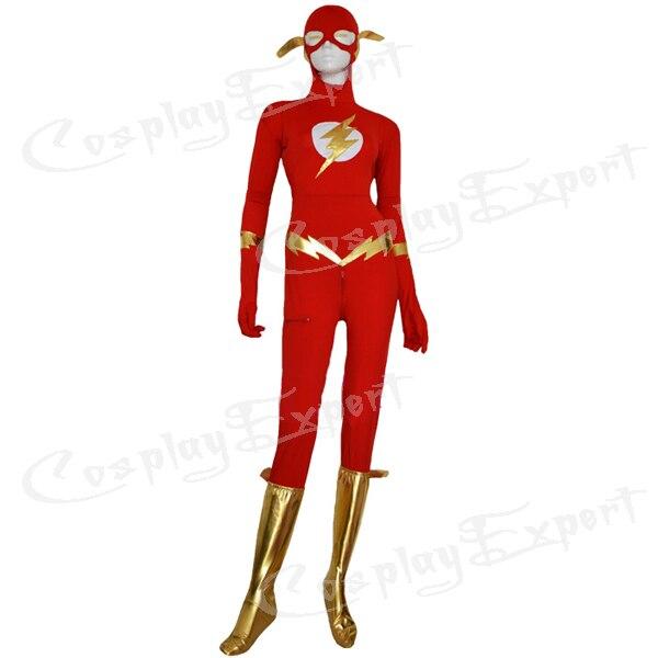 Envío libre de DHL Halloween buena flash rojo lycra spandex superhéroe Zentai  traje SHS834 5b46a4cf8db9
