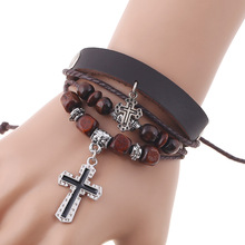 Europe and America Fashion Simple Beaded Cross Pendant Leather Bracelet Mens Personality Jewelry Accessories Adjustable