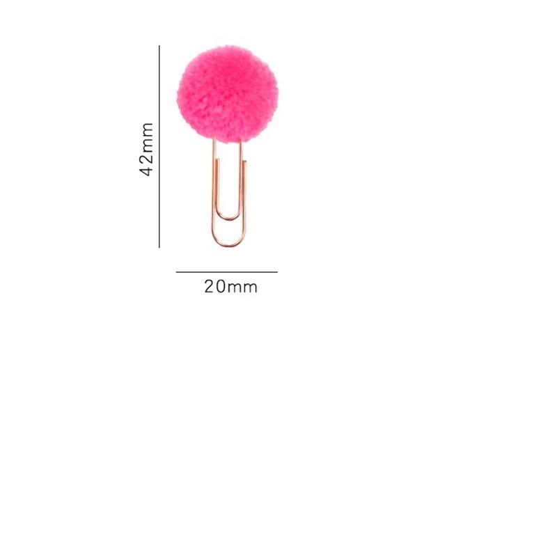 Купить с кэшбэком 12pcs Cartoon Pom Pom metal bookmarks for book accessories Fuzzy Ball paper clip Stationery gift office school supplies A6108