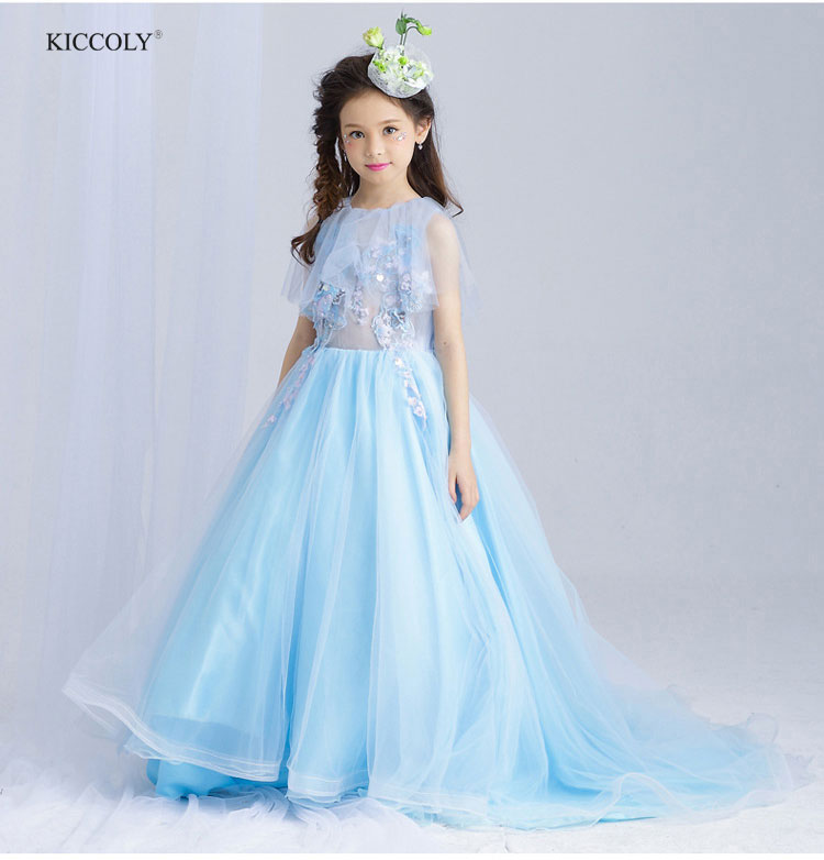 2018 Elegant Flower Girl Dress Children Light Blue Tulle Butterfly Trailing Dress Embroidery Girls Wedding Dress Kids Ball Gown plus size butterfly print ball gown dress