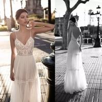 2019 New Boho Wedding Dresses Sexy Backless Bridal Gowns Lace Applique Berta Bohemian Spaghetti Straps V Neck Custom Made