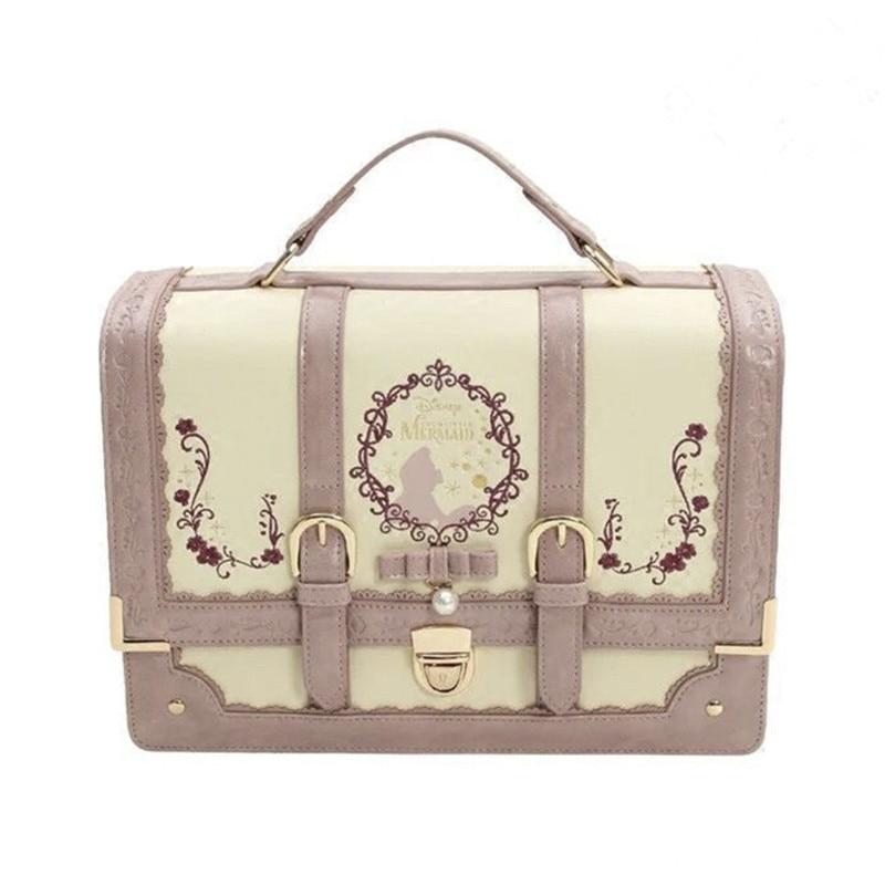 Alice In Wonderland Lolita Leather Backpack Girls Women Bow Bags Embroidered Vintage Student Schoolbag Mochila Feminina