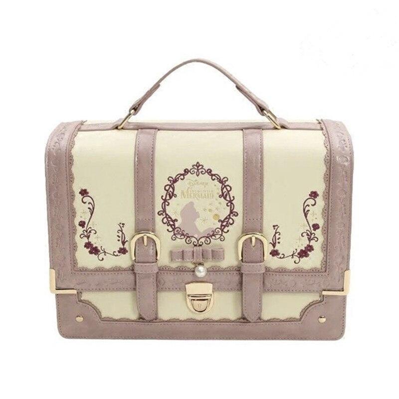 Alice au pays des merveilles Lolita sac à dos en cuir filles femmes noeud sacs brodé Vintage étudiant cartable Mochila Feminina sac à dos