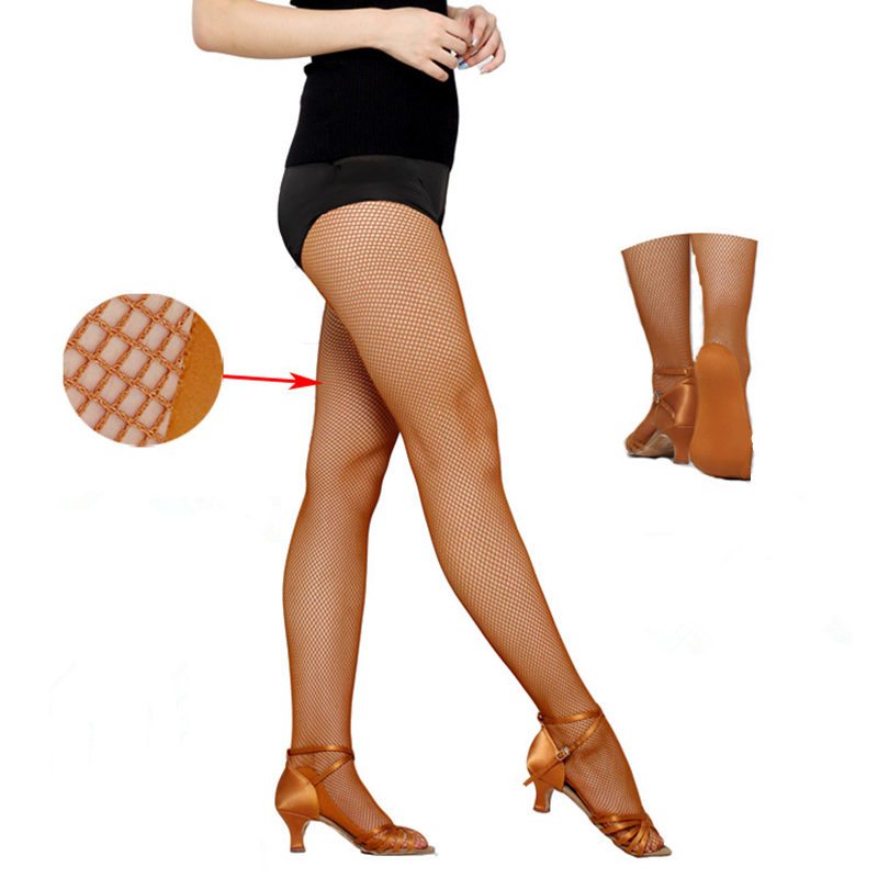 2018 High Quality Women Professional Fishnet Tights For Ballroom & Latin Yarn Elastic Latin Dance Stockings Without Footpad