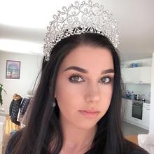 Novo ouro cor prata luxo grande cristal tiaras ctrstal strass pageant coroas barroco casamento acessórios de cabelo HG 036