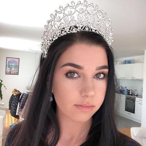 Image 1 - Novo ouro cor prata luxo grande cristal tiaras ctrstal strass pageant coroas barroco casamento acessórios de cabelo HG 036