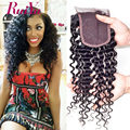 "Brazilian Deep Curly Closure Brazilian Virgin Hair Closure 8""-24"" Human Hair Closure Middle/Free/Three Part 4x4 Swiss Closure"