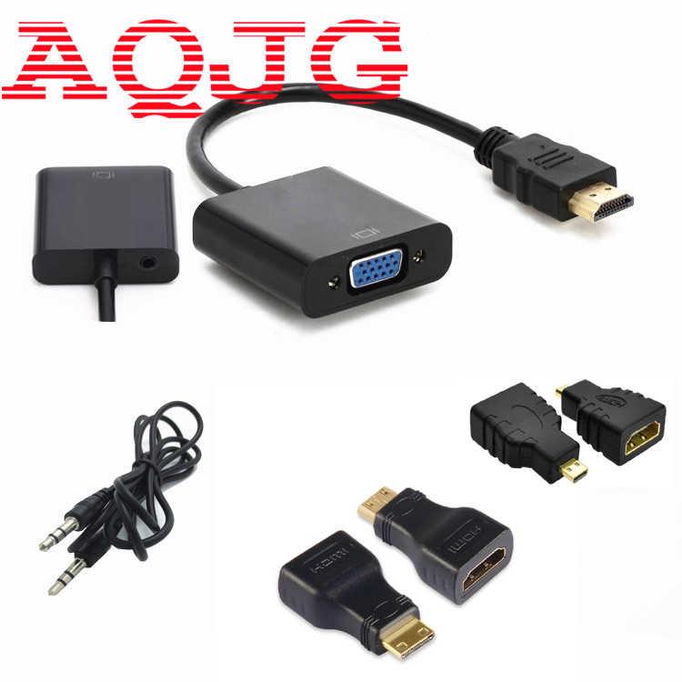 Hdmi para cabo vga micro mini hdmi adaptador macho para vga fêmea 1080p hdmi conversor conector para xbox 360 ps3 ps4 pc dvd lcd tv