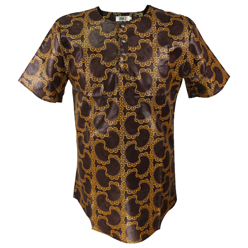 MD Mens African Clothing Dashiki Men T Shirt Africa Style Printing Tops Brown Cotton Short Sleeve T Shirt Hot Selling Casual Tee