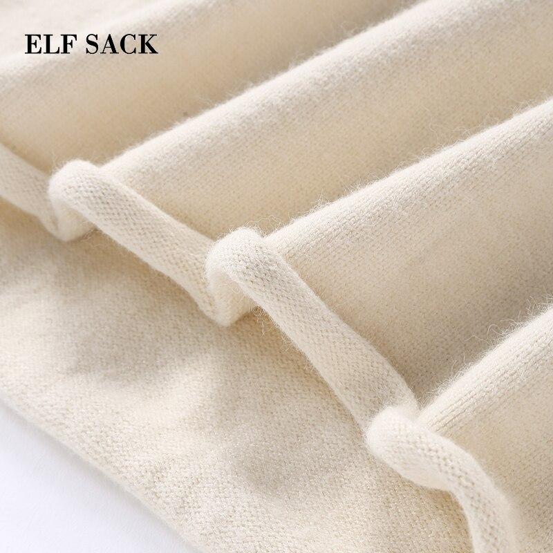 Elf Pleine Tricoté Solide Mode Up Pulls Nouvelle O Automne Blanc Chandail Chandails cou Femmes Dentelle Occasionnel Whtie Femme noir Sack Main 1qr1ag