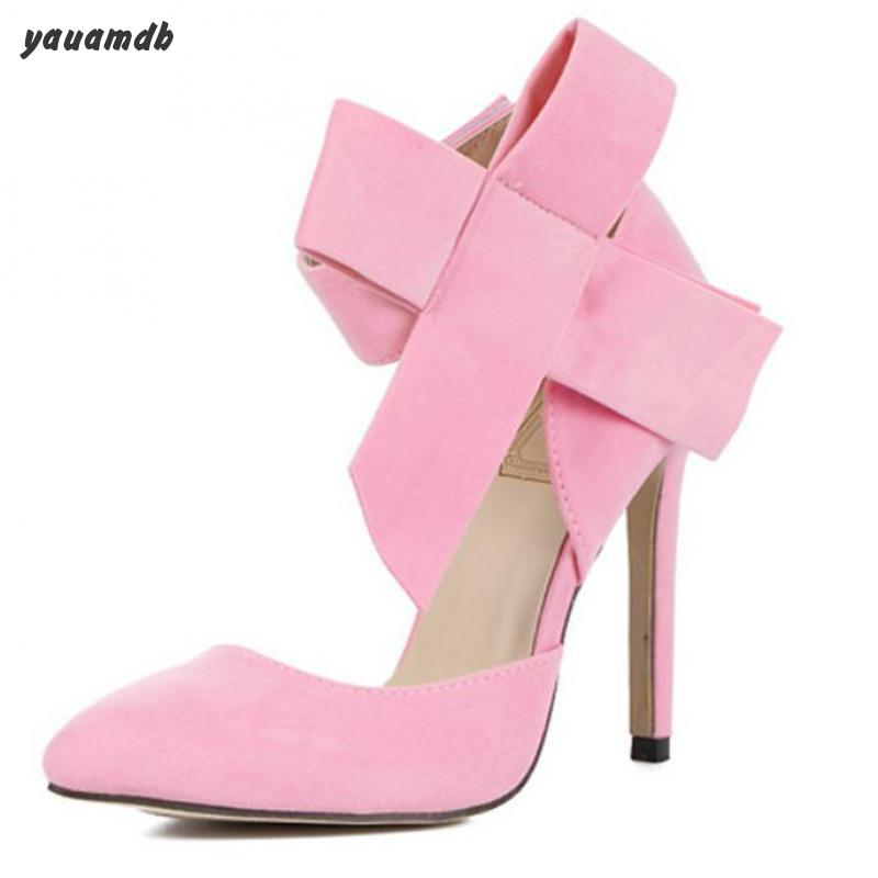 02c66d04fcf yauamdb women shoes woman high heel shoes Big Bow pink Pumps Butterfly  Pointed Stiletto Shoes Woman High Heels Wedding Shoes 58