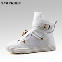 GZ Punk Rivetti metallici Hip Hop stivali Uomini Solido Bianco Danza Appartamenti Piattaforma di Modo fibbia Alti Zapatillas Hombre #39